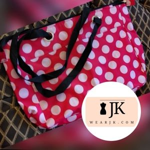 Large Vinyl Red w/ White Polka Dots - Tote